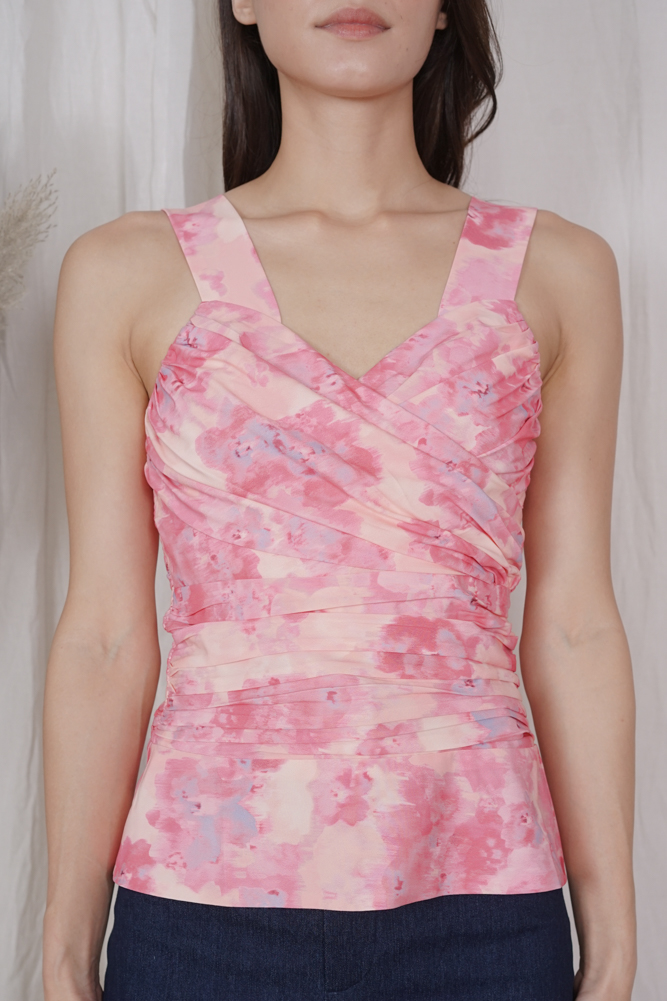 Neisha Ruched Top in Pink Multi - Arriving Soon