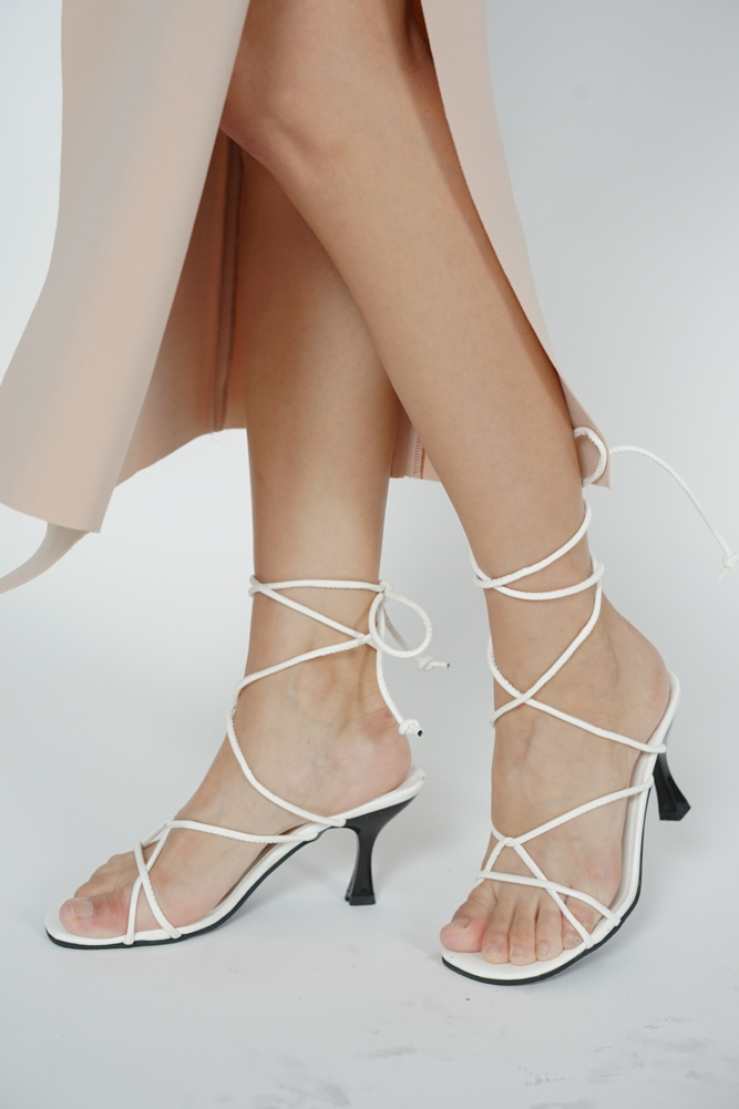 Corrine Lace-Up Heels in White - Arriving Soon