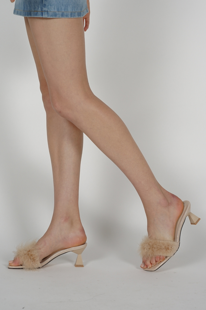 Isa Fluffly Mules in Beige - Arriving Soon