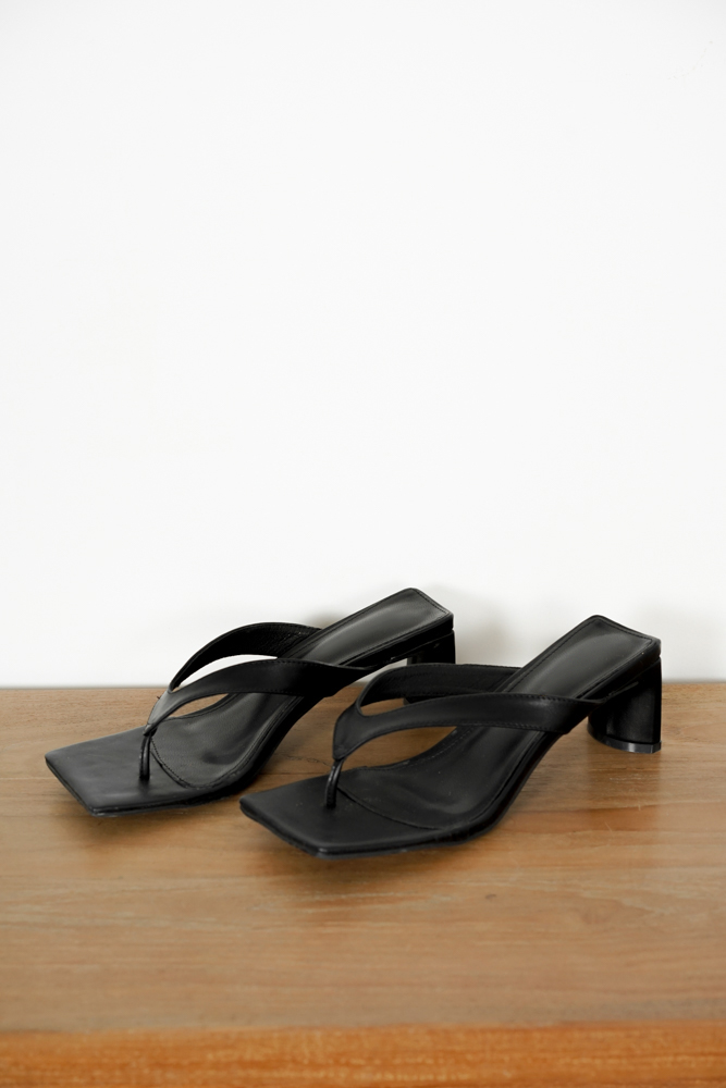 Chloris Sandal Heels in Black - Arriving Soon