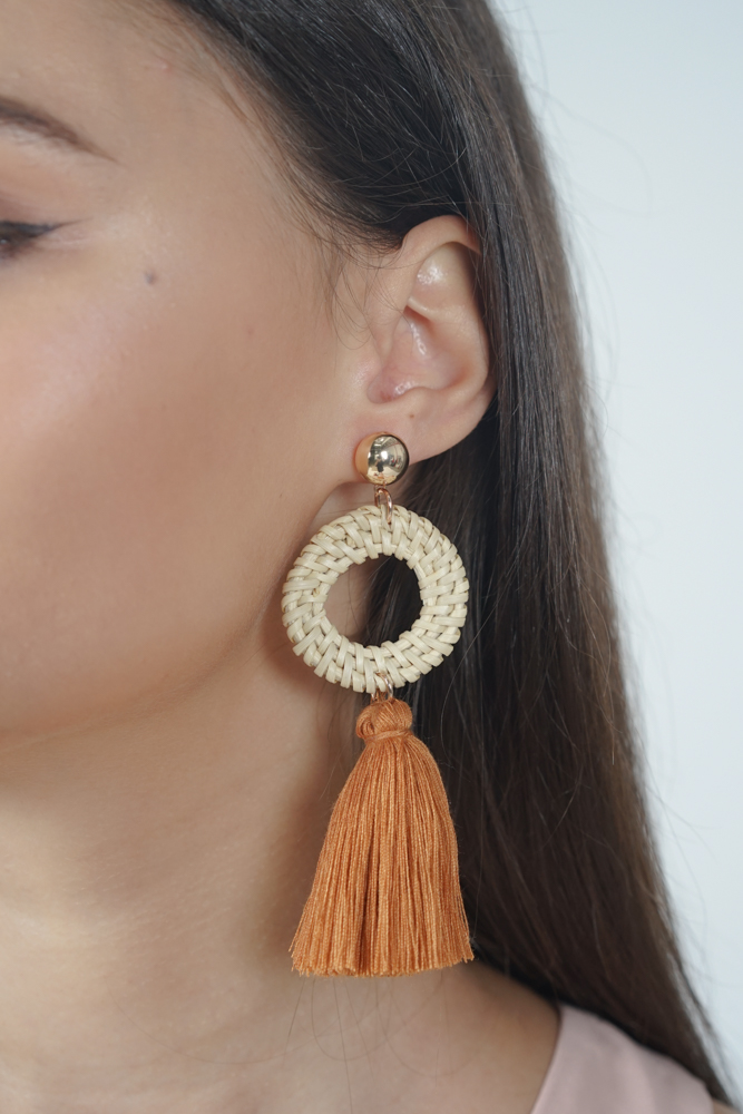 Hoop Tassel Earrings in Brown - Arriving Soon
