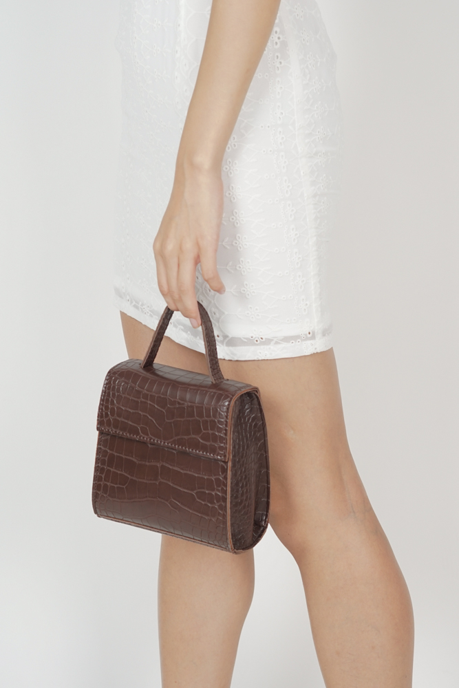 Rock This Croc Bag In Brown - Arriving Soon