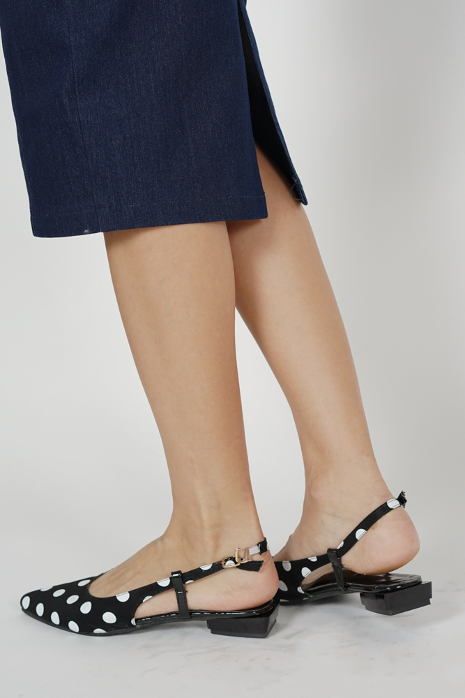 Suzy Polka Dot Slingbacks in Black - Arriving Soon