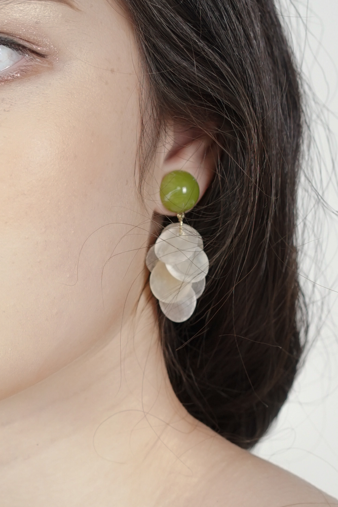 Allie Round Shell Earrings with Olive Stud - Arriving Soon