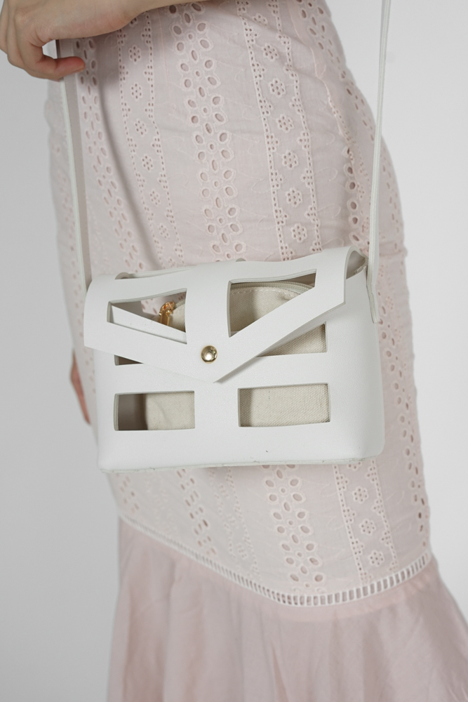Alyxa Cutout Bag in White - Arriving Soon