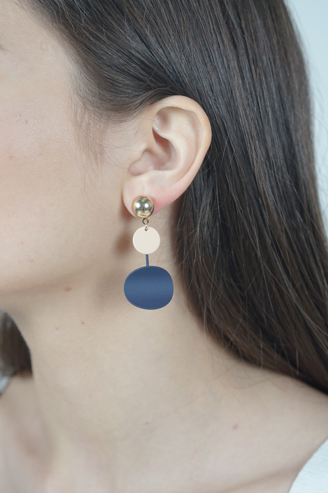 Colour Block Earrings in Navy - Arriving Soon