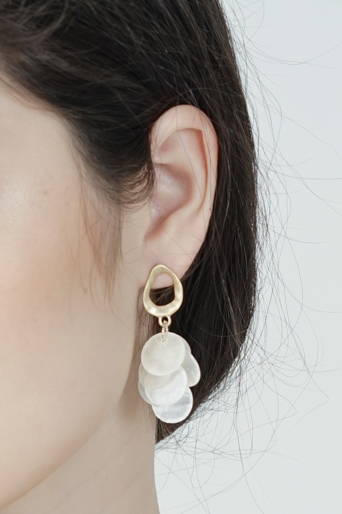 Savanna Round Shell Earrings with Gold - Arriving Soon