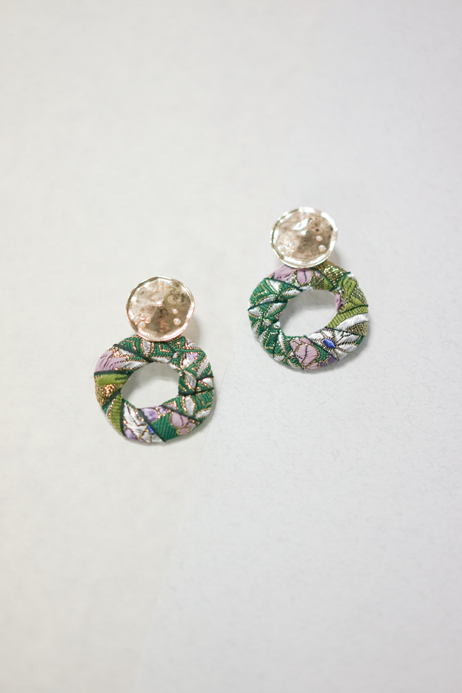 Floral Embroidery Hoop Earrings in Forest Green  - Arriving Soon