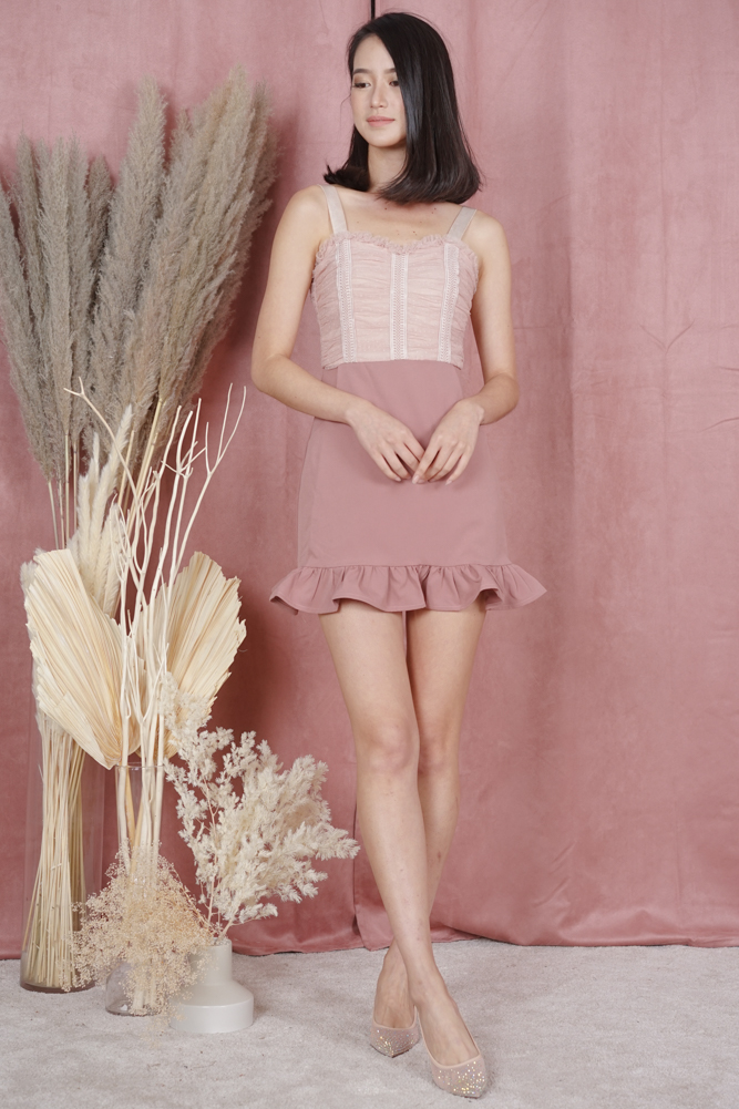 Argea Ruffled-Hem Skorts Romper in Pink - Arriving Soon