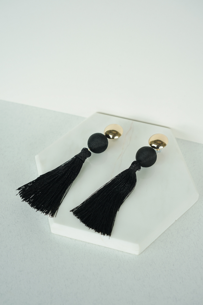 Lantern Tassel Earrings in Black - Arriving Soon