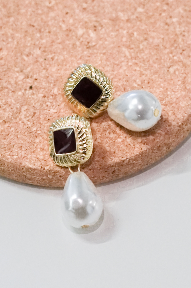 Shanelle Pearl Earrings with Squared Stud in Gold - Arriving Soon