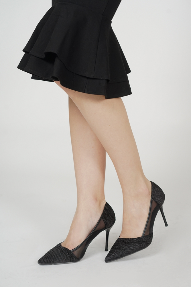 Casey Crinkled Satin Heels in Black - Arriving Soon