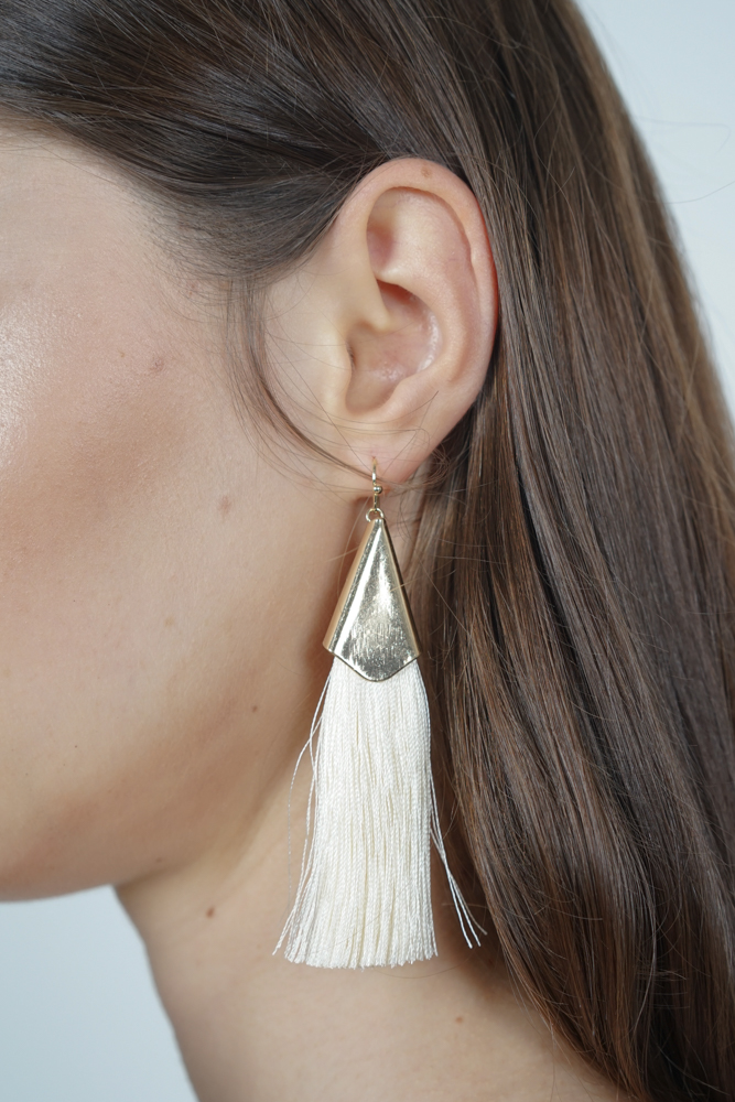 Sleek Tassel Earrings in Cream