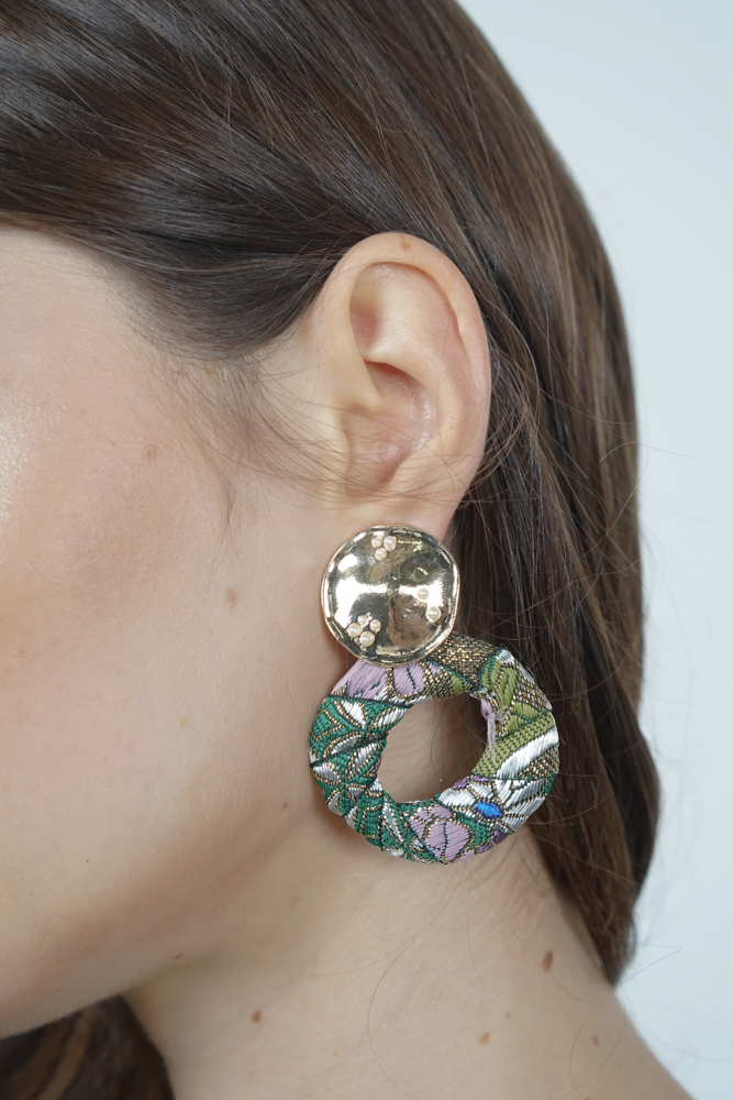 Floral Embroidery Hoop Earrings in Forest Green