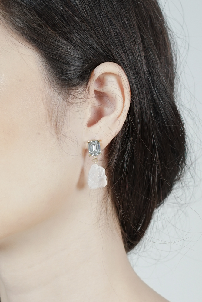 Briddy Crystal Earrings in White - Arriving Soon