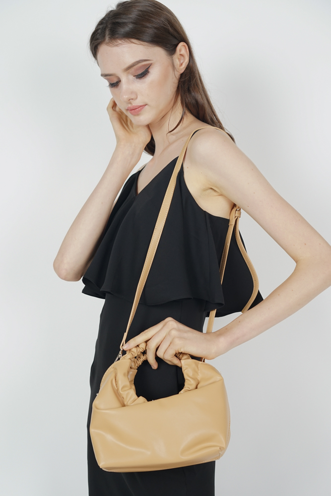 Scrunchie Handle Bag in Beige - Arriving Soon