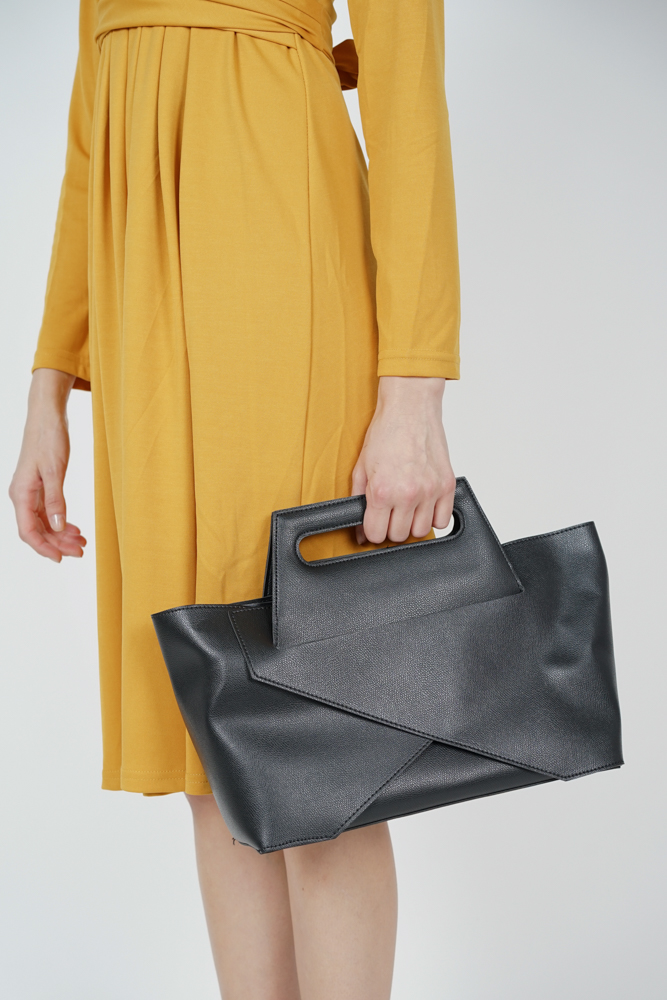 Foldover Tote Bag in Black