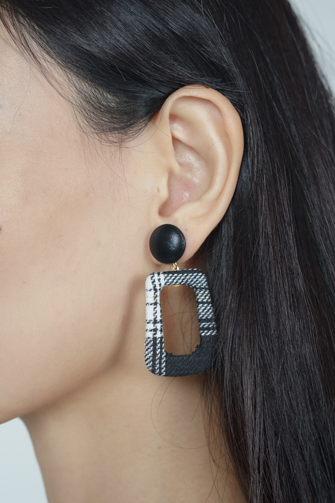 Twiggy Earrings in Black Checks - Arriving Soon