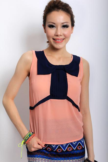 MDS Top Bow Blouse in Apricot