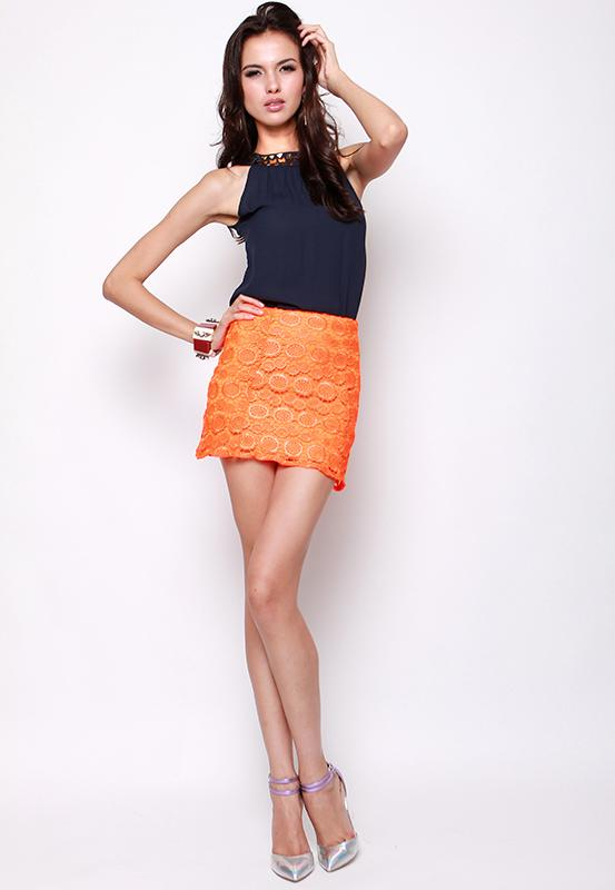 Amber's Crocheting Mini Skirt in Neon