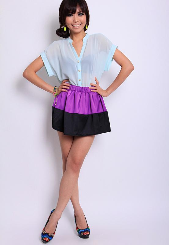 Colour-Block Scheme Skater Skirt