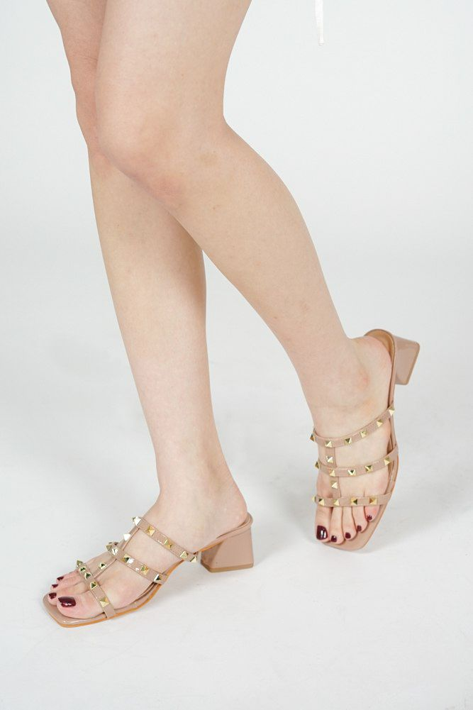 Shilla Studded Mules in Nude - Arriving Soon
