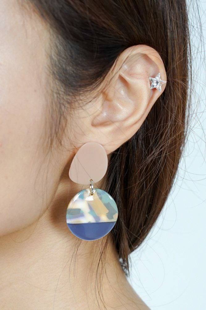 Maya Contrast Earrings in Blue - Arriving Soon