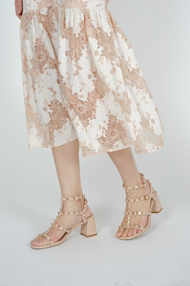 Tanya Studded Heels in Nude - Arriving Soon