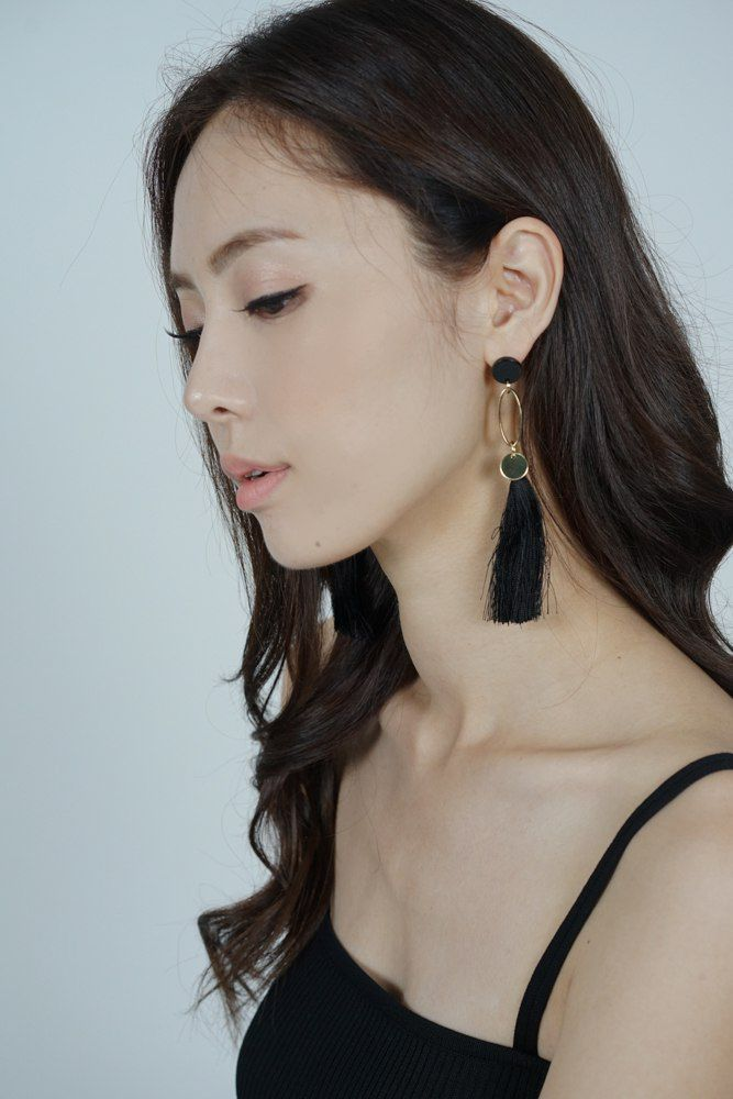 Sorin Tassel Earrings in Black - Arriving Soon
