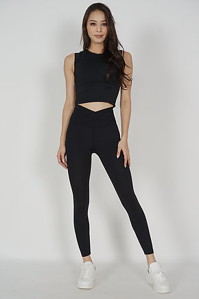 Tevie Criss Cross Gym Tights in Black - Arriving Soon