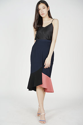Color-Block Mermaid Skirt in Midnight Black