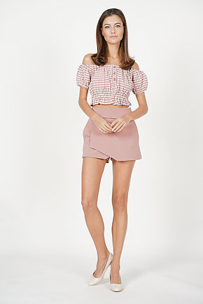 Nahla Cropped Top in Mauve Gingham - Arriving Soon