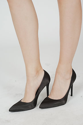 Selena Satin Pumps in Black - Arriving Soon